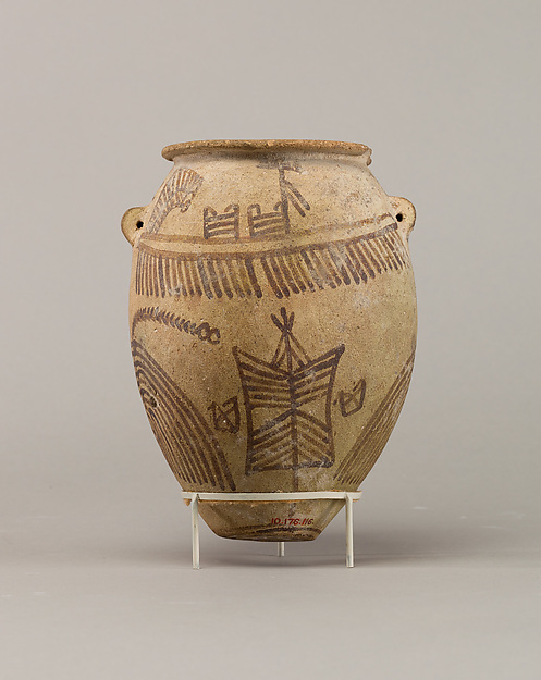 Decorated ware jar illustrating boats, Pottery, paint