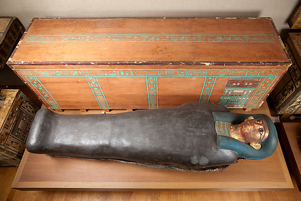 Coffins and Mummy of the Lady Nephthys, Painted wood, cartonnage, linen, human remains, mummification material