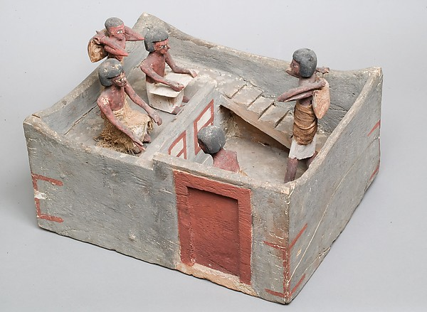 Model of a granary with scribe and overseer, Wood