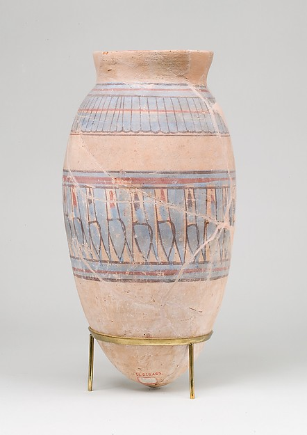 Blue-painted Jar from Malqata, pottery (red), slip, paint