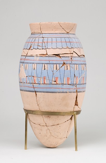 Blue-painted Jar from Malqata, pottery (red) , slip, paint
