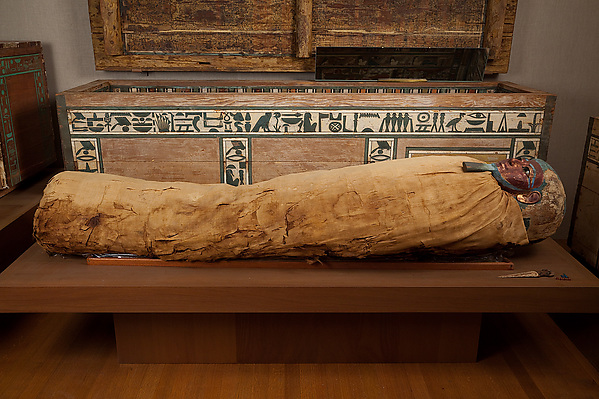 Mummy of Ukhhotep, son of Hedjpu, Human remains, linen, mummification material, painted and gilded cartonnage, obsidian, travertine (Egyptian alabaster)