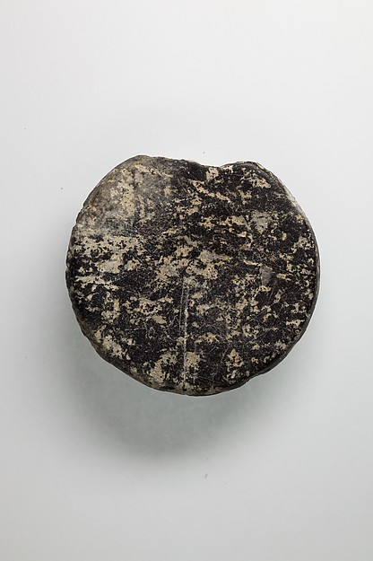 Kohl jar lid, Travertine (Egyptian alabaster)