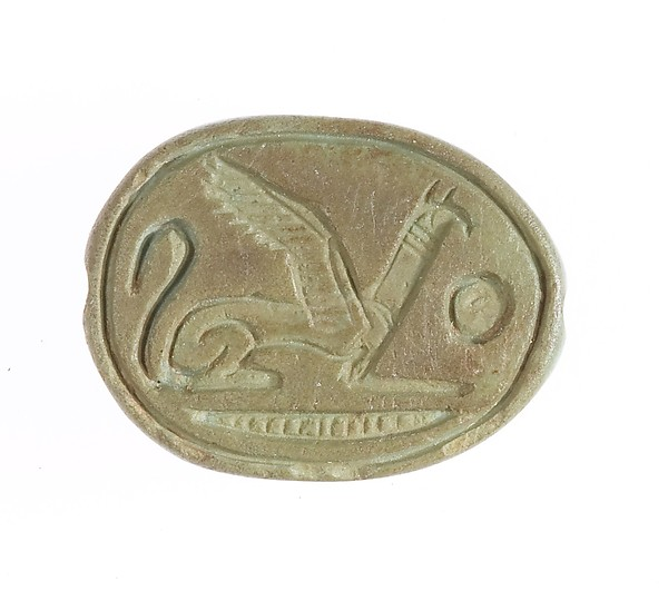 Scarab with seated griffin, Glazed steatite