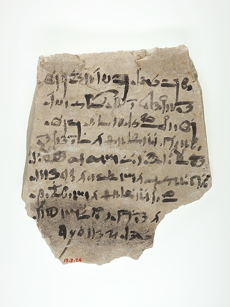 Ostracon with hieratic inscription, Limestone, ink