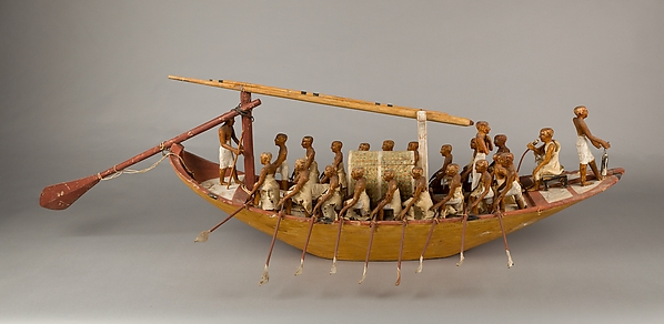 Travelling Boat being Rowed, Wood, paint, plaster, linen twine and cloth