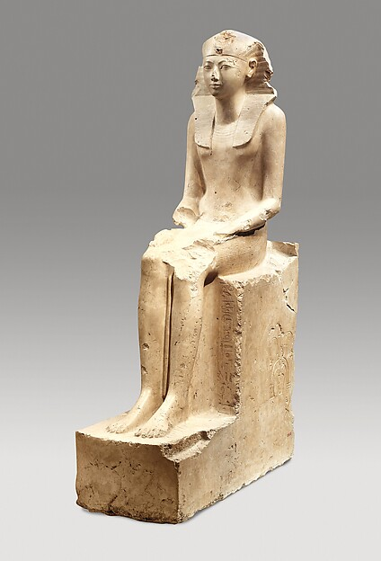 Seated Statue of Hatshepsut, Indurated limestone, paint