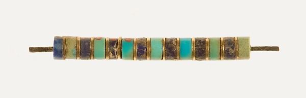 Shank of a cylinder amulet, Gold, turquoise, lapis lazuli, bronze
