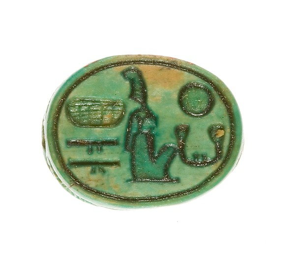Scarab Inscribed for Maatkare (Hatshepsut), Lord of the Two Lands, Steatite (glazed)