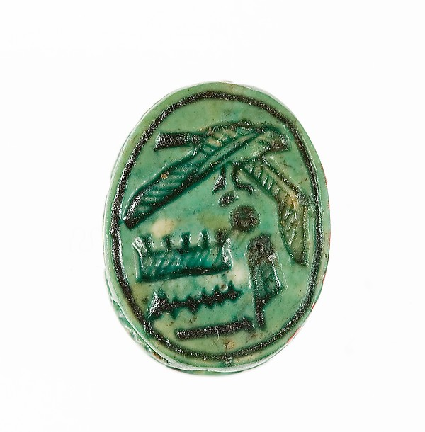 Scarab Inscribed with the Name of the God Amun-Re, Steatite (glazed)