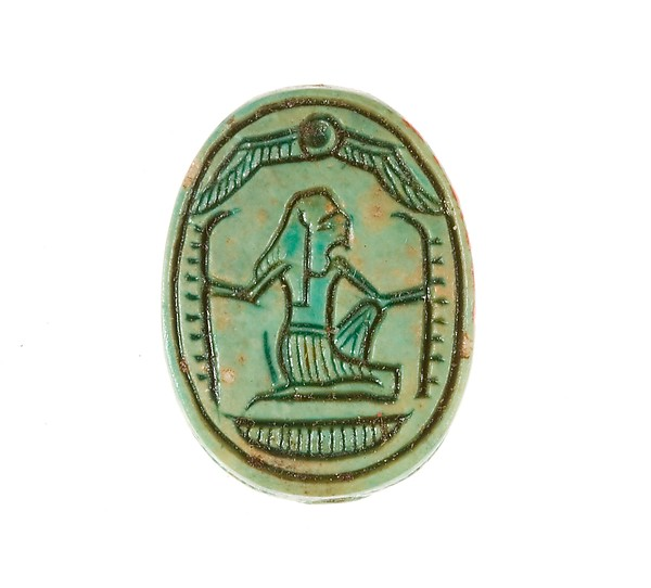 Scarab Inscribed with a Hieroglyphic Motif, Steatite (glazed)