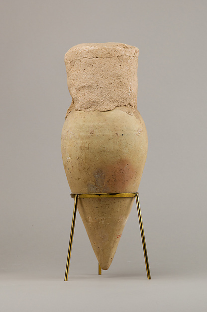 Jar with pointed base and intact seal, Pottery
