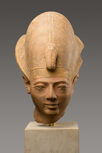 Head of King Amenmesse Wearing the Blue Crown, Quartzite, paint