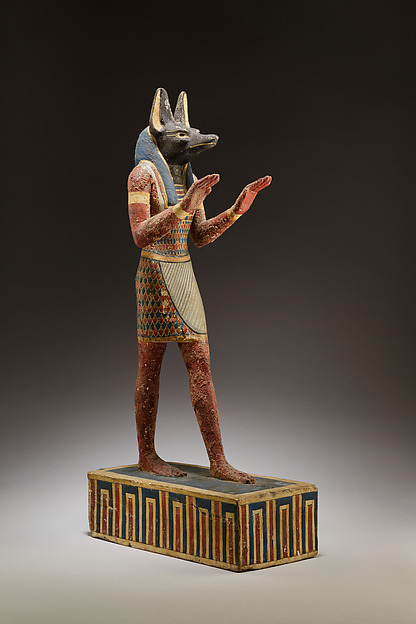 Statuette of Anubis, Plastered and painted wood
