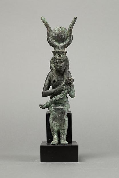 Isis and Horus, Cupreous metal, precious metal inlay