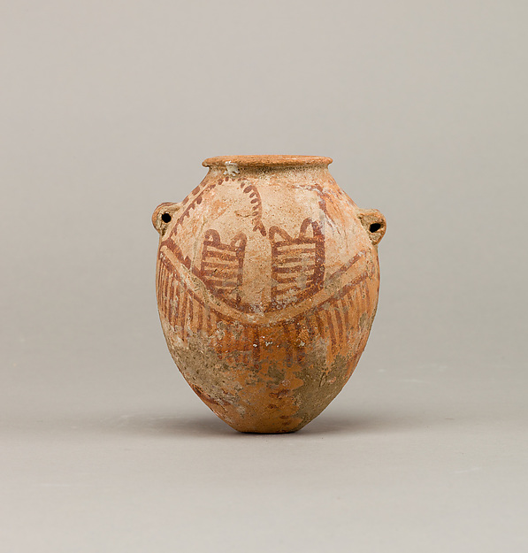 Decorated ware jar depicting two boats, Pottery, paint