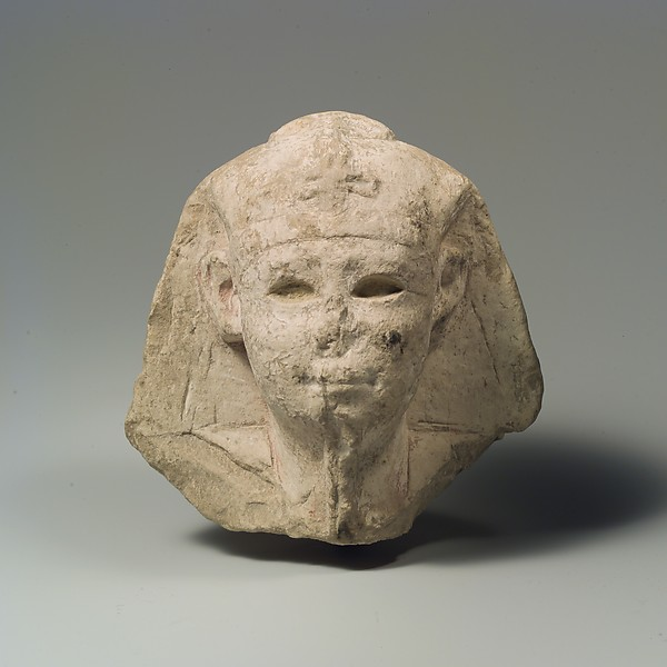 Head of a king as Khepri, possibly Ptolemy VI Philometor, Limestone, paint traces