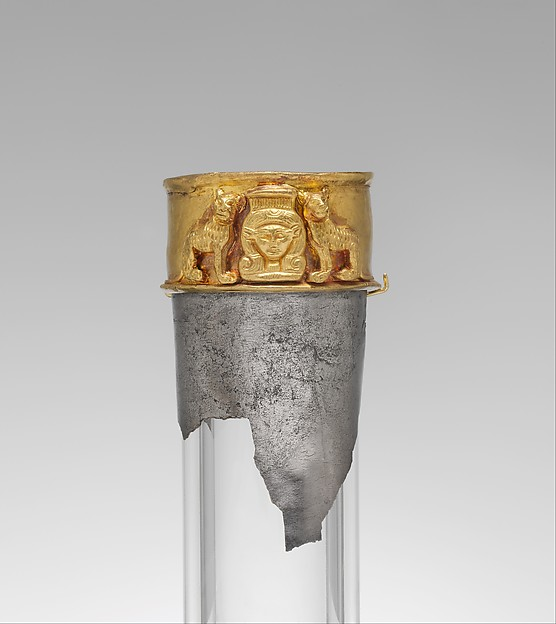 Neck from a vessel depicting the goddess Hathor flanked by felines, Silver, gold
