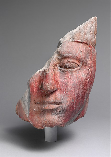 Head from a Statue of King Amenhotep I, Sandstone, paint