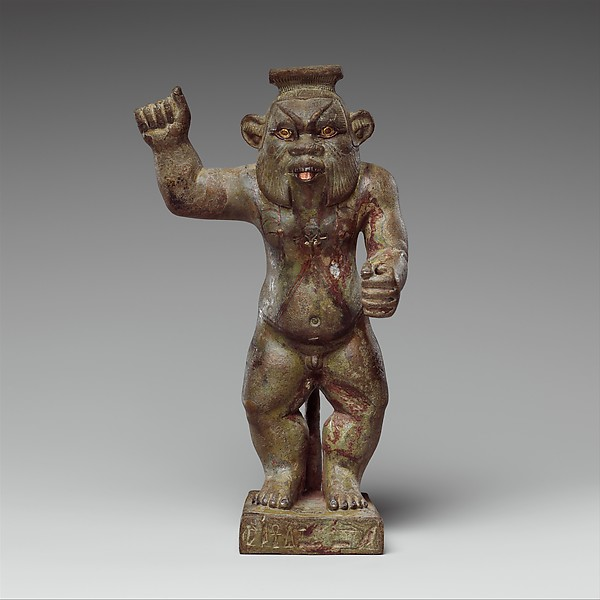 Bes-image of the god Hor-Asha-Khet, Bronze; gold, electrum, auriferous-silver, copper and copper-alloy inlays