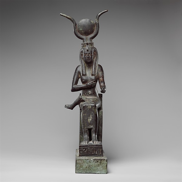 Statuette of Isis nursing Horus (missing above the legs), inscribed for Hor son of Padihorresnet, Bronze, gilded silver, electrum; separate leaded bronze throne