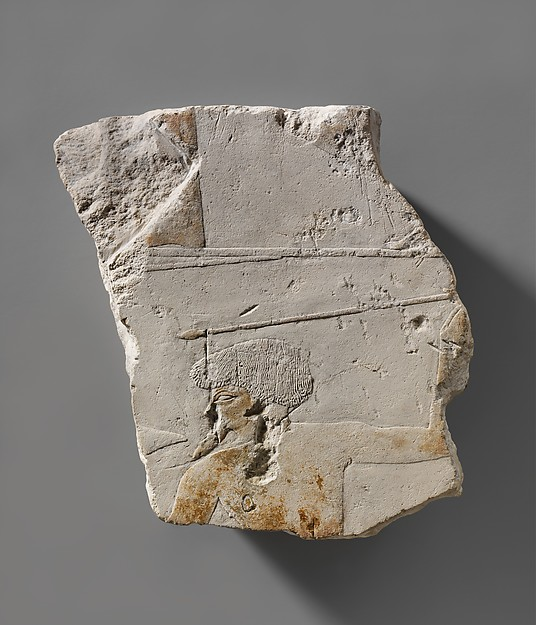 Fragment from a battle scene depicting a foreigner throwing a spear and holding a distinctive shield, Limestone, paint