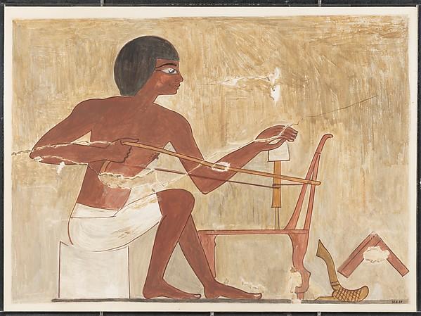 Carpenter Making a Chair, Tomb of Rekhmire, Nina de Garis Davies (1881–1965), Tempera on paper