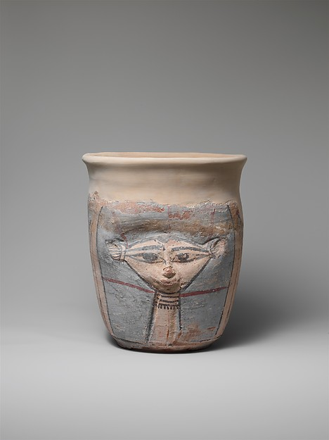 Neck of a Wide-Mouthed Hathor Jar, pottery, slip, paint