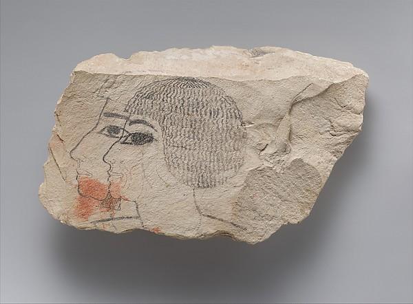 Artist's Sketches of  Senenmut, Limestone, ink
