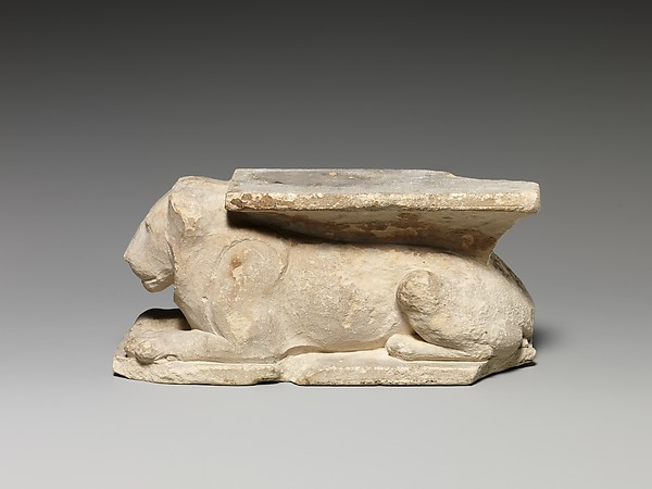 Model of a temple door bolt with recumbent lion, Limestone