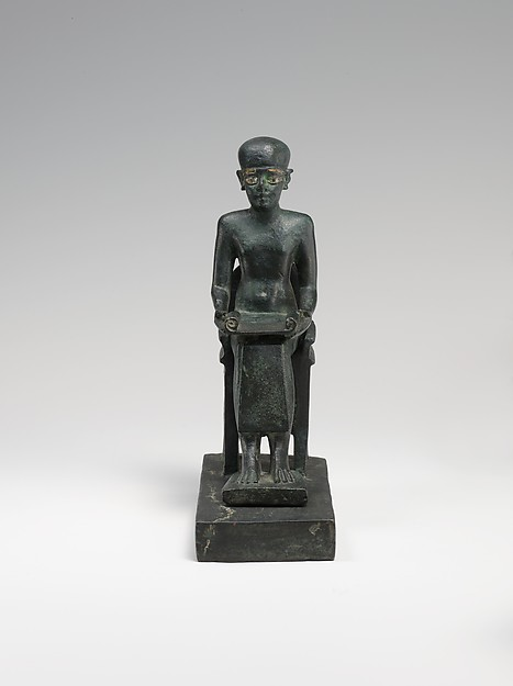Statue of Seated Imhotep, cupreous metal, precious metal inlay