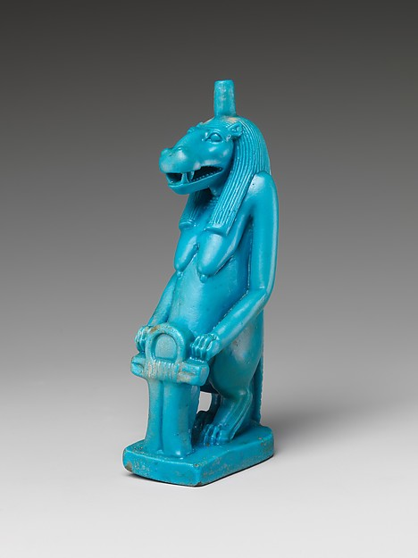 Statuette of the Goddess Taweret, Glassy faience