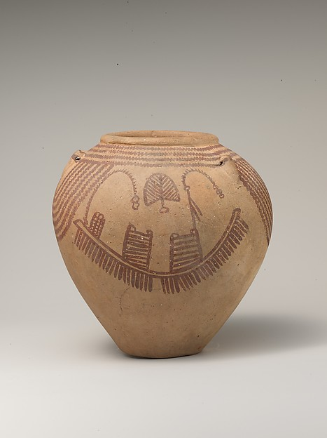 Decorated ware jar depicting boats, Pottery, paint