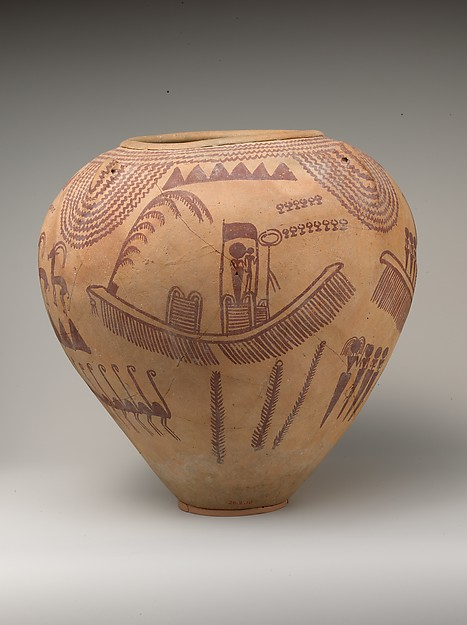 Decorated Ware Jar Depicting Ungulates and Boats with Human Figures, Pottery, paint