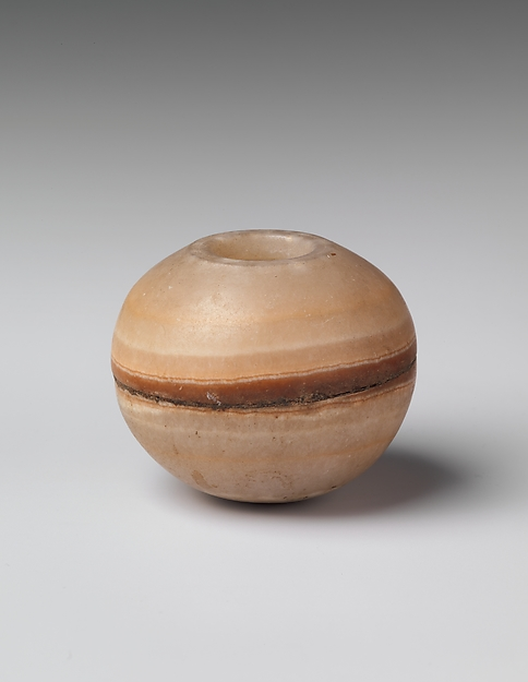 Toilet jar, Travertine (Egyptian alabaster)