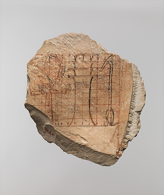Artist's Scaled Drawing of Hieroglyphs, Limestone, ink
