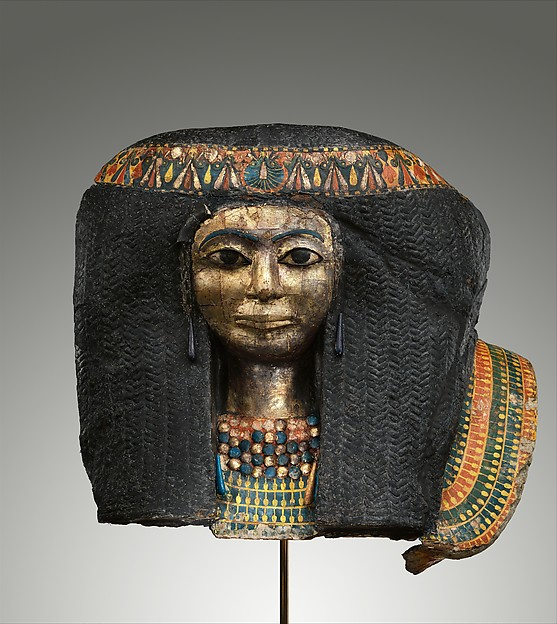 Funerary Mask of a Woman, Cartonnage, gesso, paint, gold, copper alloy, faience