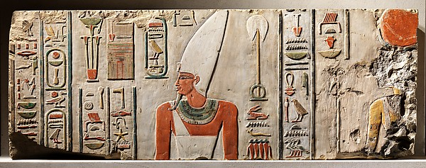 Relief of Nebhepetre Mentuhotep II and the Goddess Hathor, Limestone, paint