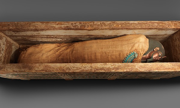 Mummy of Khnumhotep with mask and broad collar, Human remains, linen, mummification material, painted and gilded cartonnage, ebony, obsidian, travertine (Egyptian alabaster), faience