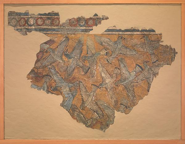 Ceiling Fragment Depicting Pigeons, Mud plaster, paint