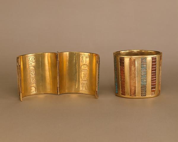 Hinged Cuff Bracelet, Gold, carnelian, turquoise, glass