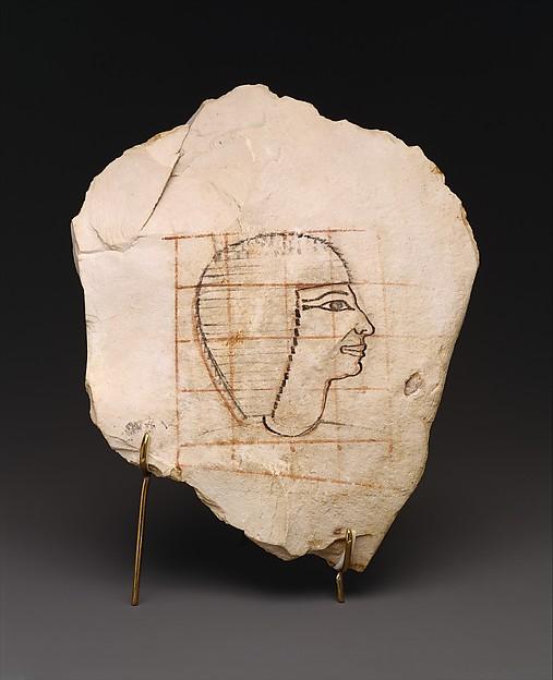 Artist's Gridded Sketch of Senenmut, Limestone, ink