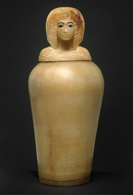 Canopic Jar (07.226.1) with a Lid in the Shape of a Royal Woman's Head (30.8.54), Travertine (Egyptian alabaster), blue glass, obsidian, unidentified stone