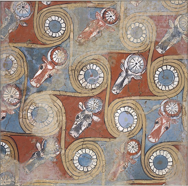 Ceiling painting from the palace of Amenhotep III, Dried Mud, mud plaster, paint Gesso