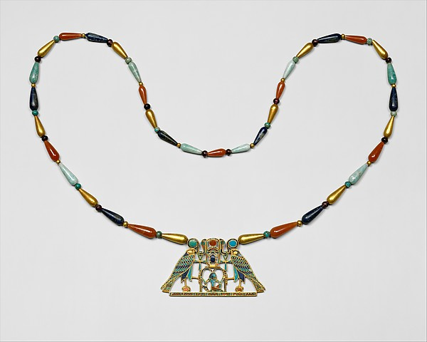 Pectoral and Necklace of Sithathoryunet with the Name of Senwosret II, Gold, carnelian, lapis lazuli, turquoise, garnet (pectoral) Gold, carnelian, lapis lazuli, turquoise, green feldspar (necklace)