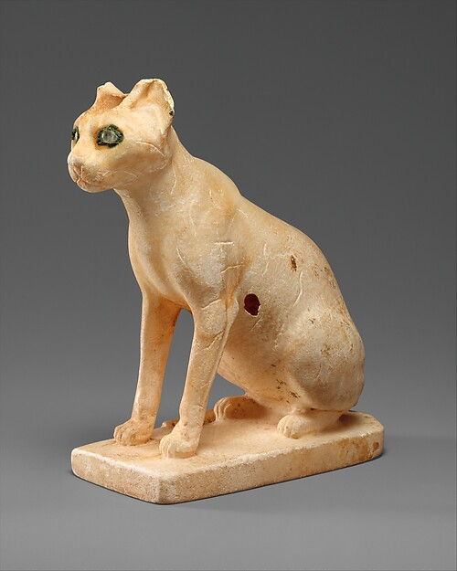 Cosmetic Vessel in the Shape of a Cat, Travertine (Egyptian alabaster), copper, quartz crystal, paint