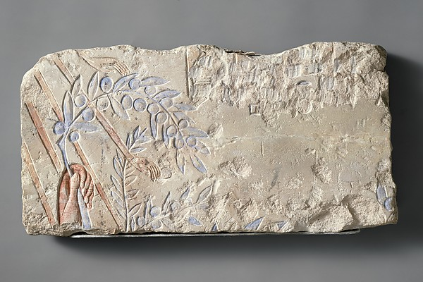 Hand Clutching an Olive Branch, Limestone, paint