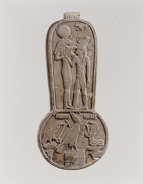 Menat of Taharqo: the King Being Nursed by the Lion-Headed Goddess Bastet, Faience