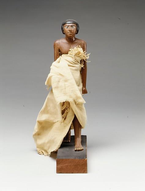 Statuette of Wah, Cedar, plaster, paint, linen