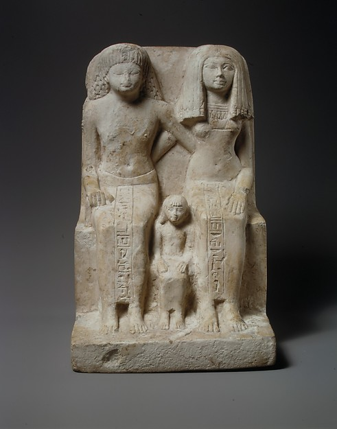 Statue of Kedamun and His Family, Limestone, paint